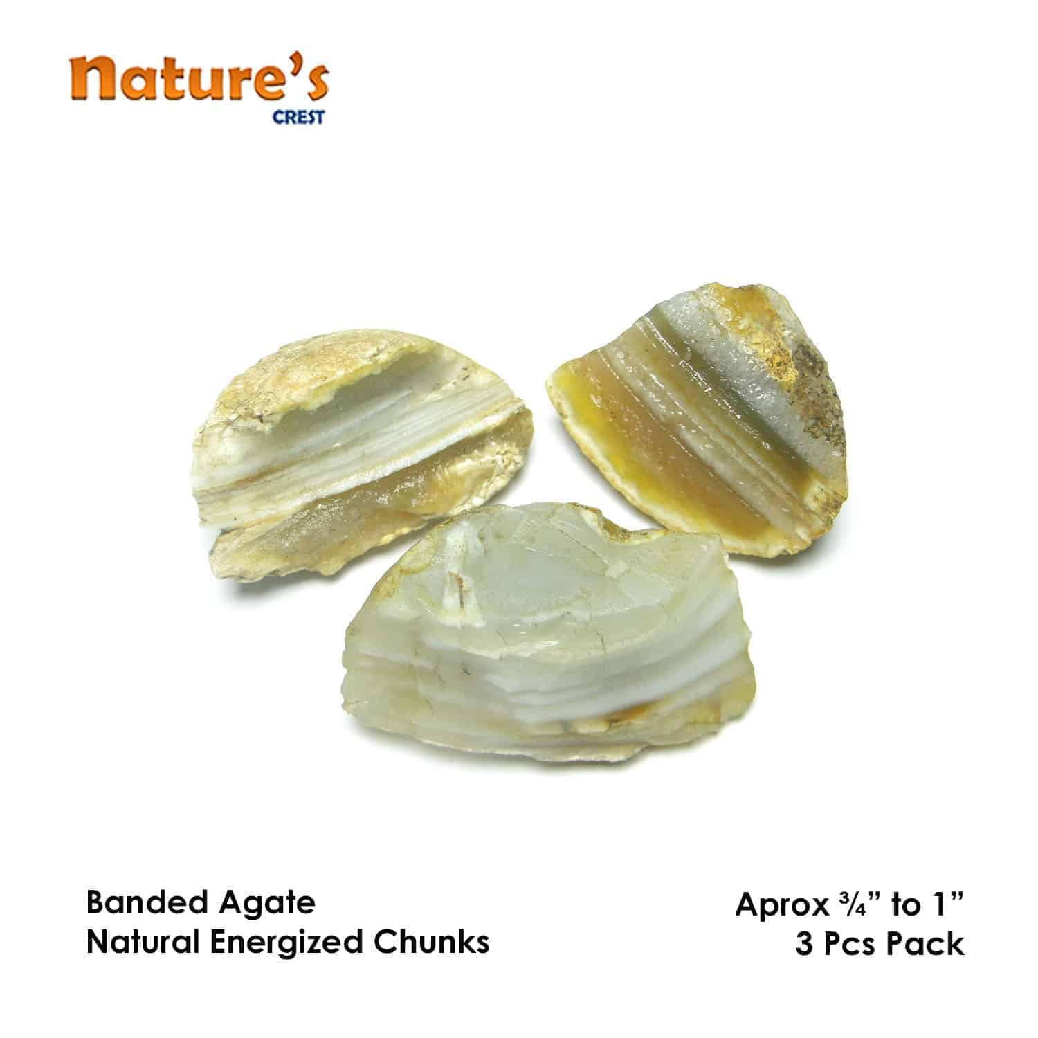 Banded Agate Natural Raw Rough Chunks Nature's Crest RC017 ₹199.00