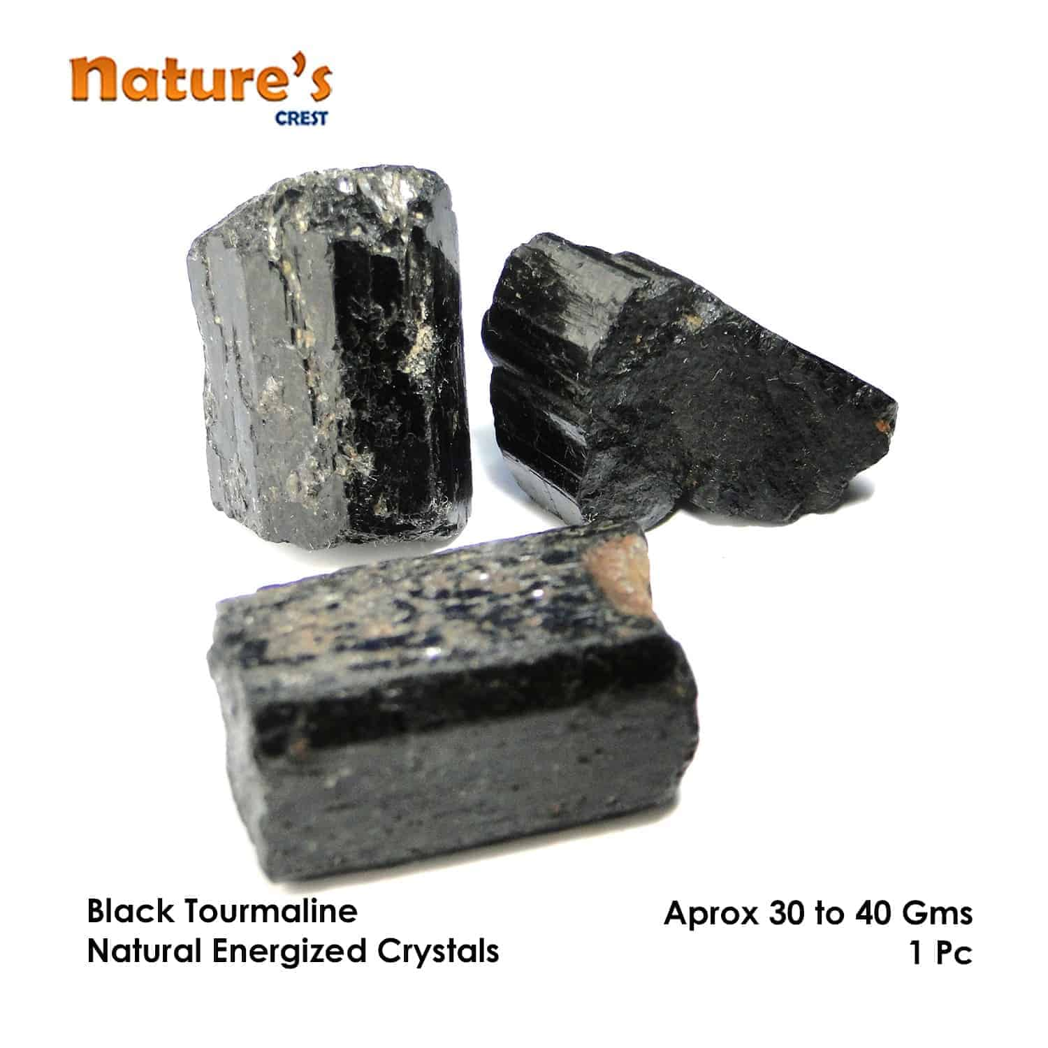 Black Tourmaline Natural Raw Rough Crystal Nature's Crest RC000 ₹249.00