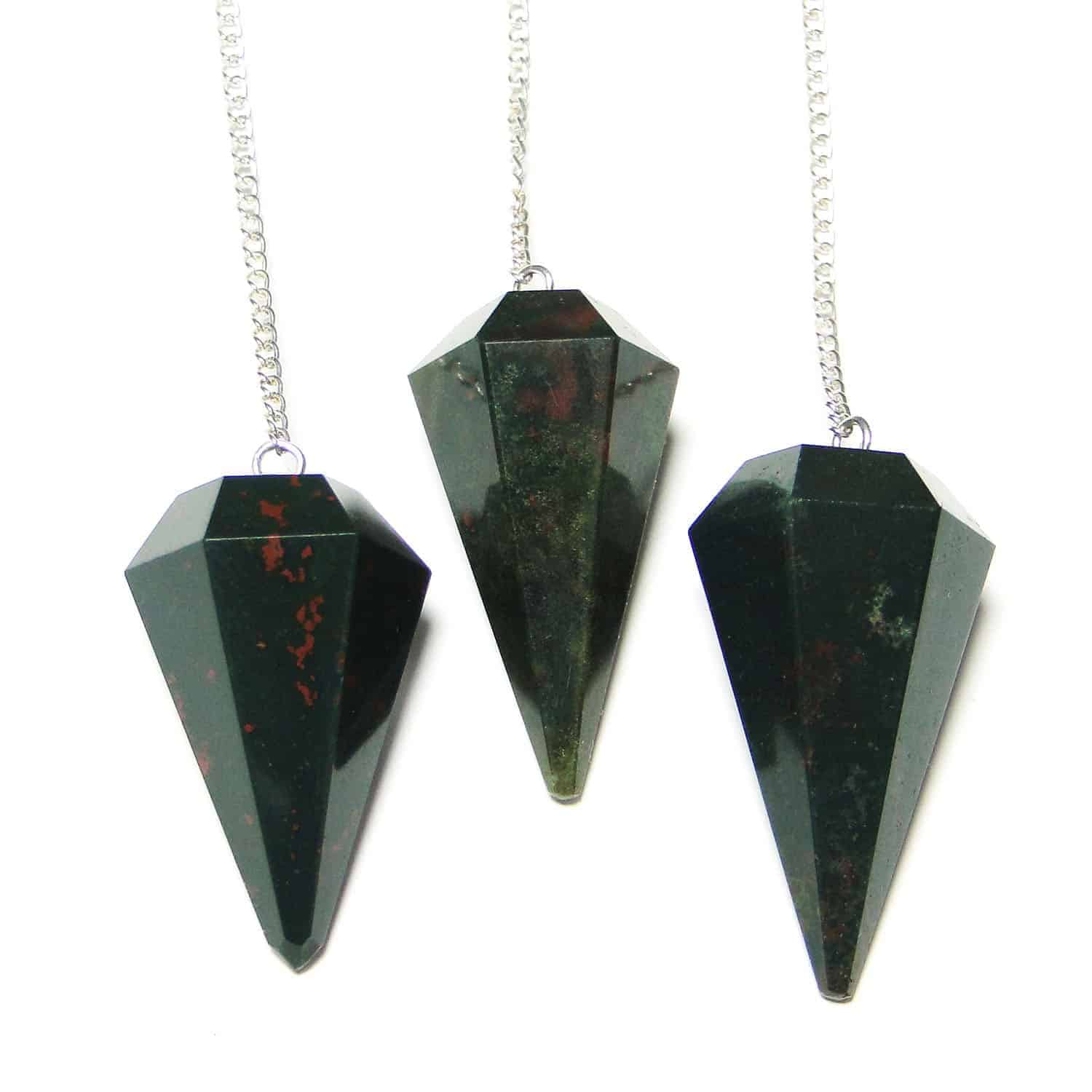Green Moss Agate Faceted Dowsing Pendulum Nature's Crest PD014 ₹ 249.00