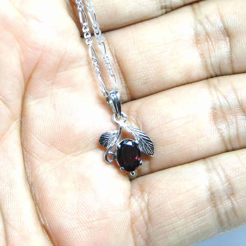 Garnet Facetted Sterling Silver Designer Leaf Pendant Nature's Crest LP003 ₹999.00
