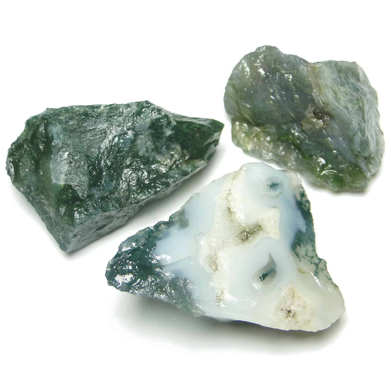 Green Moss Agate Natural Raw Rough Chunks Nature's Crest RC015 ₹ 199.00