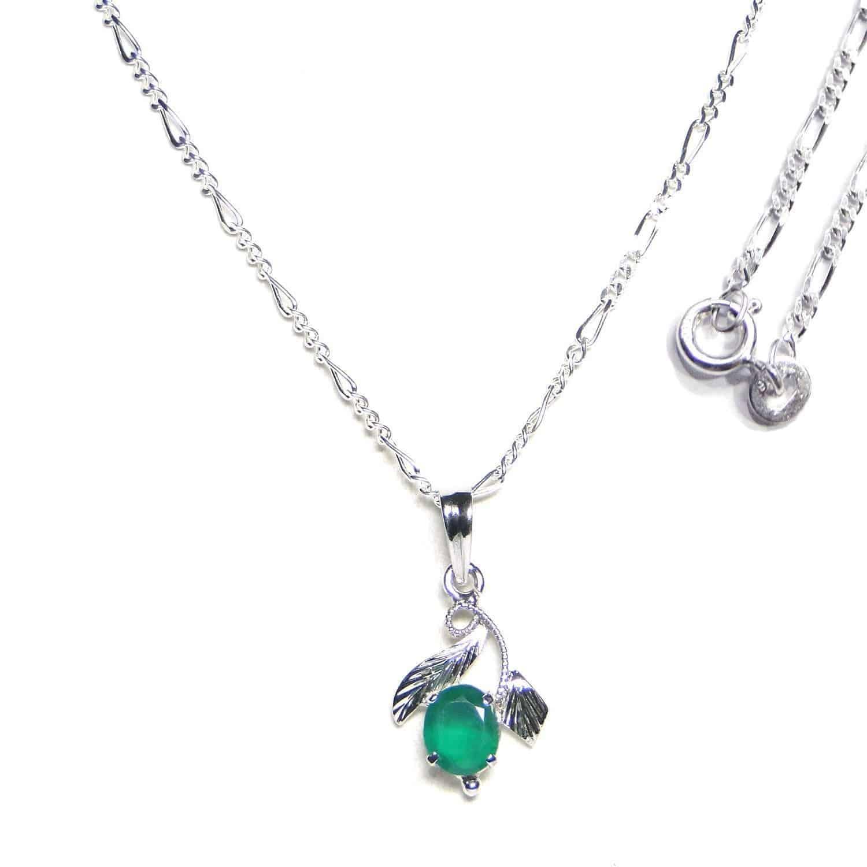 Green Onyx Sterling Silver Designer Leaf Pendant Nature's Crest LP004 ₹999.00
