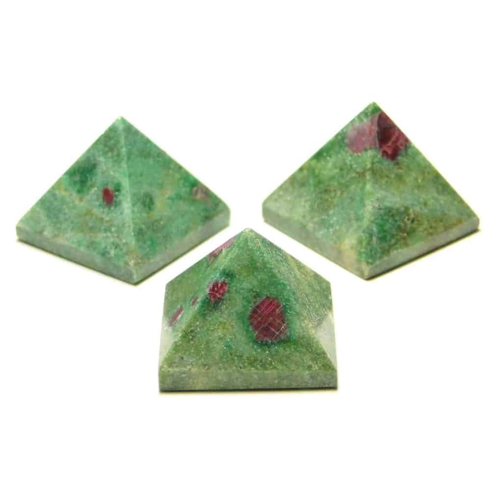 Ruby With Fuchite Pyramids Multiple