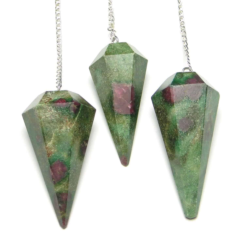 Ruby Fuchsite (Manek / Manik) Faceted Dowsing Pendulum Nature's Crest PD024 ₹399.00