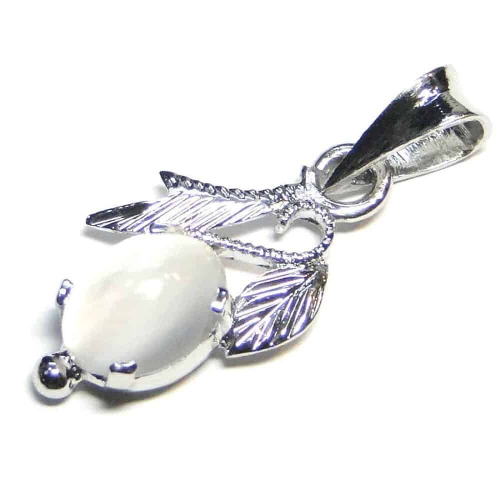 Moonstone White Sterling Silver Designer Leaf Pendant Nature's Crest LP007 ₹ 999.00
