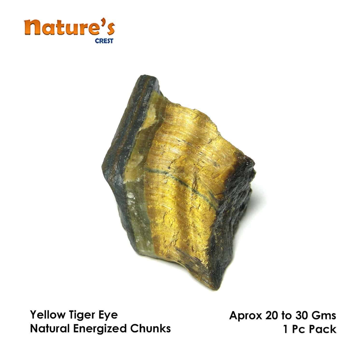 Tiger Eye Yellow Natural Raw Rough Chunks Nature's Crest RC012 ₹249.00