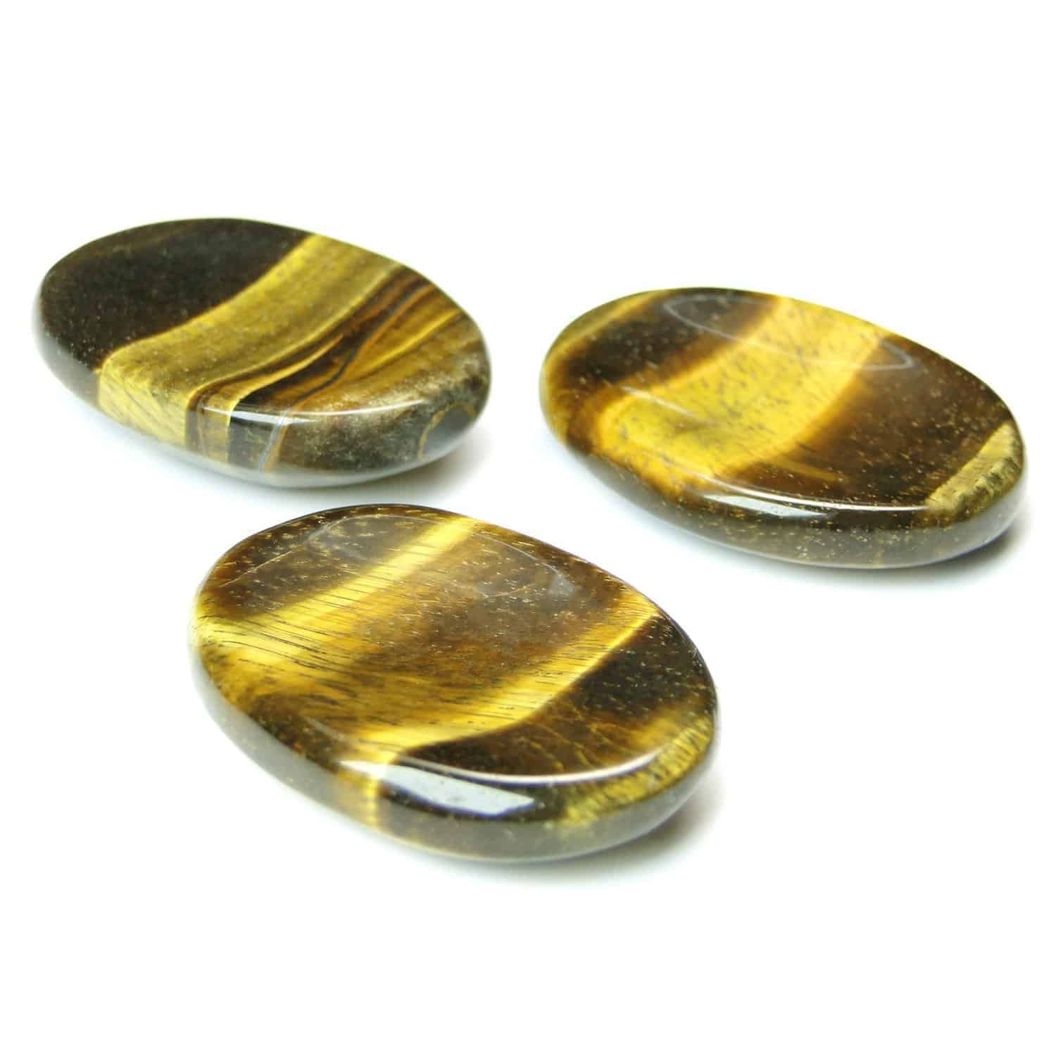 Tiger Eye Yellow Worry Stone Palm Stone Thumb Stone Nature's Crest WS0010 ₹269.00