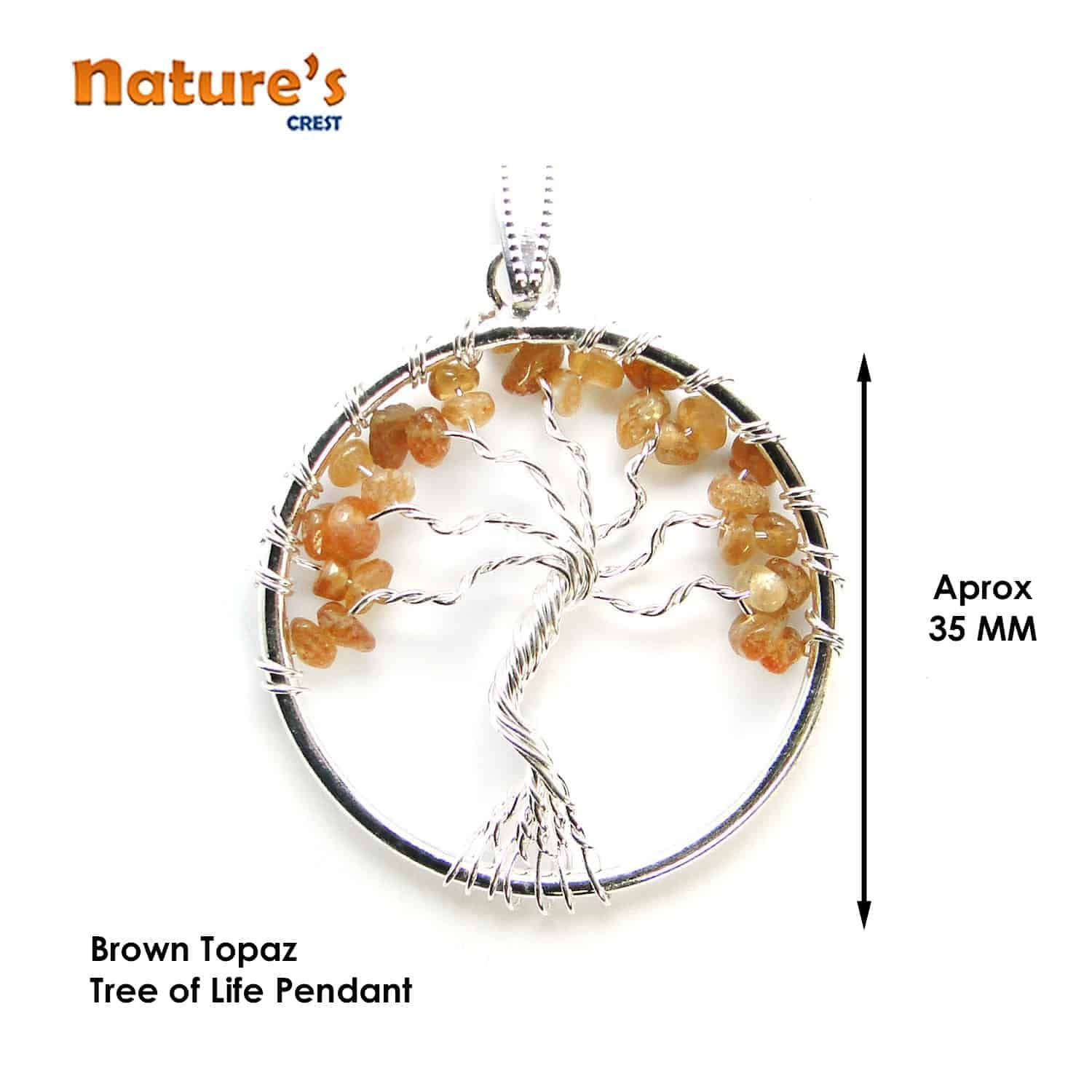 Brown Topaz Tree of Life Pendant Nature's Crest TOL003 ₹ 249.00