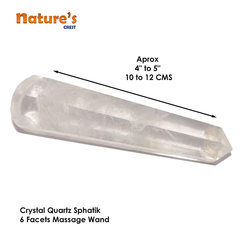 Crystal Quartz (Sphatik) Healing Wand Massage Stick Nature's Crest MS007 ₹749.00