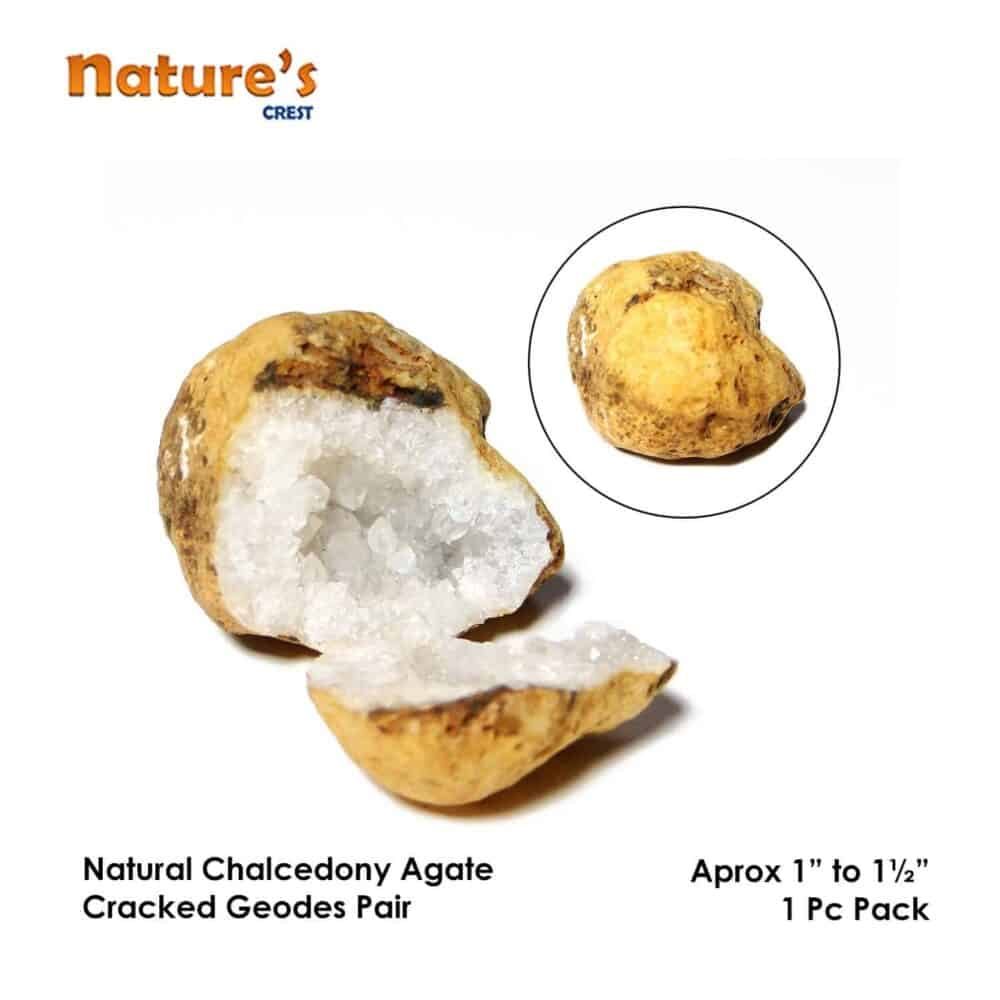 Chalcedony Agate Cracked Natural Geodes Pair Nature's Crest SP002 ₹349.00