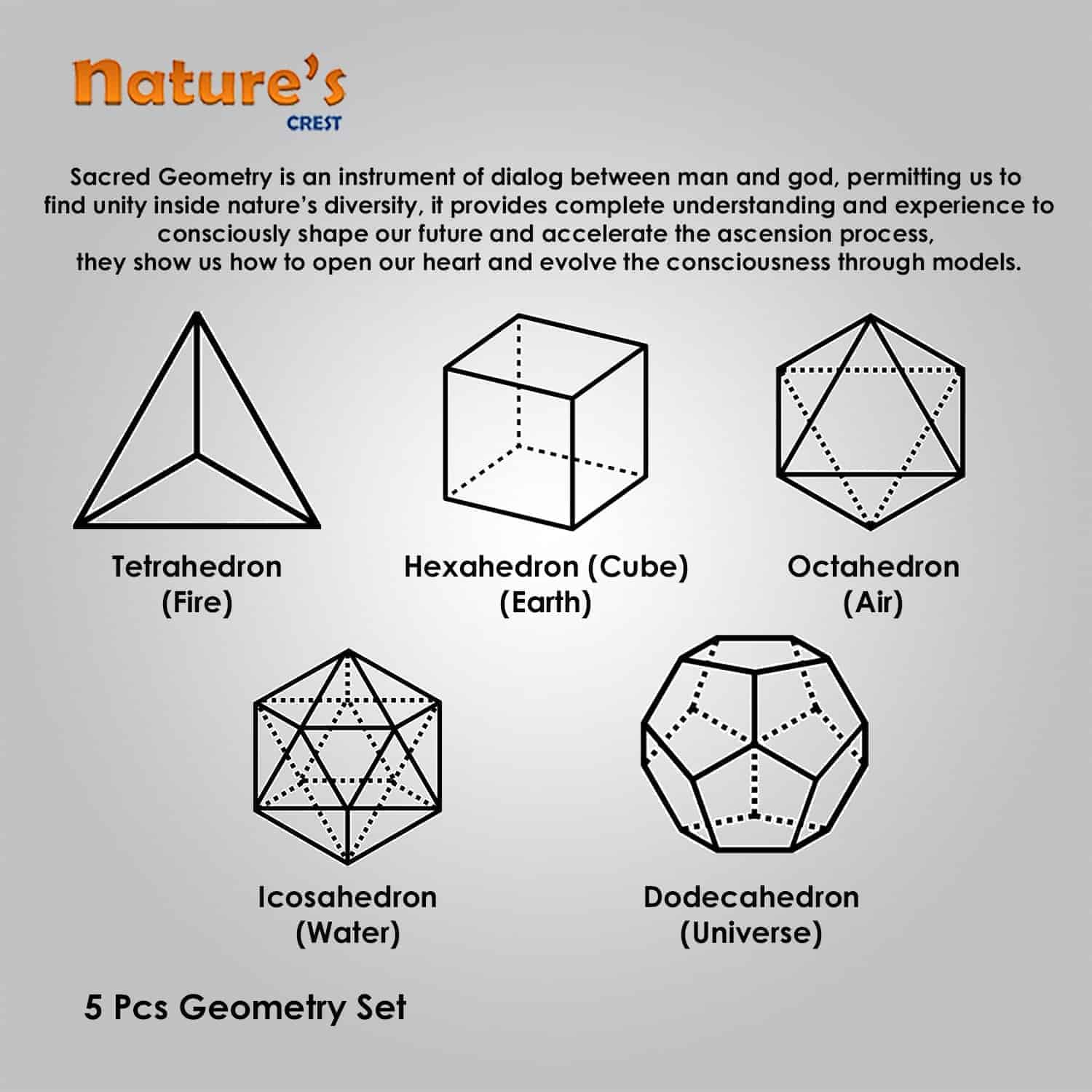 Rose Quartz Platonic Solids 5 Pcs Set Sacret Geometry Set Nature's Crest GS5003 ₹ 999.00