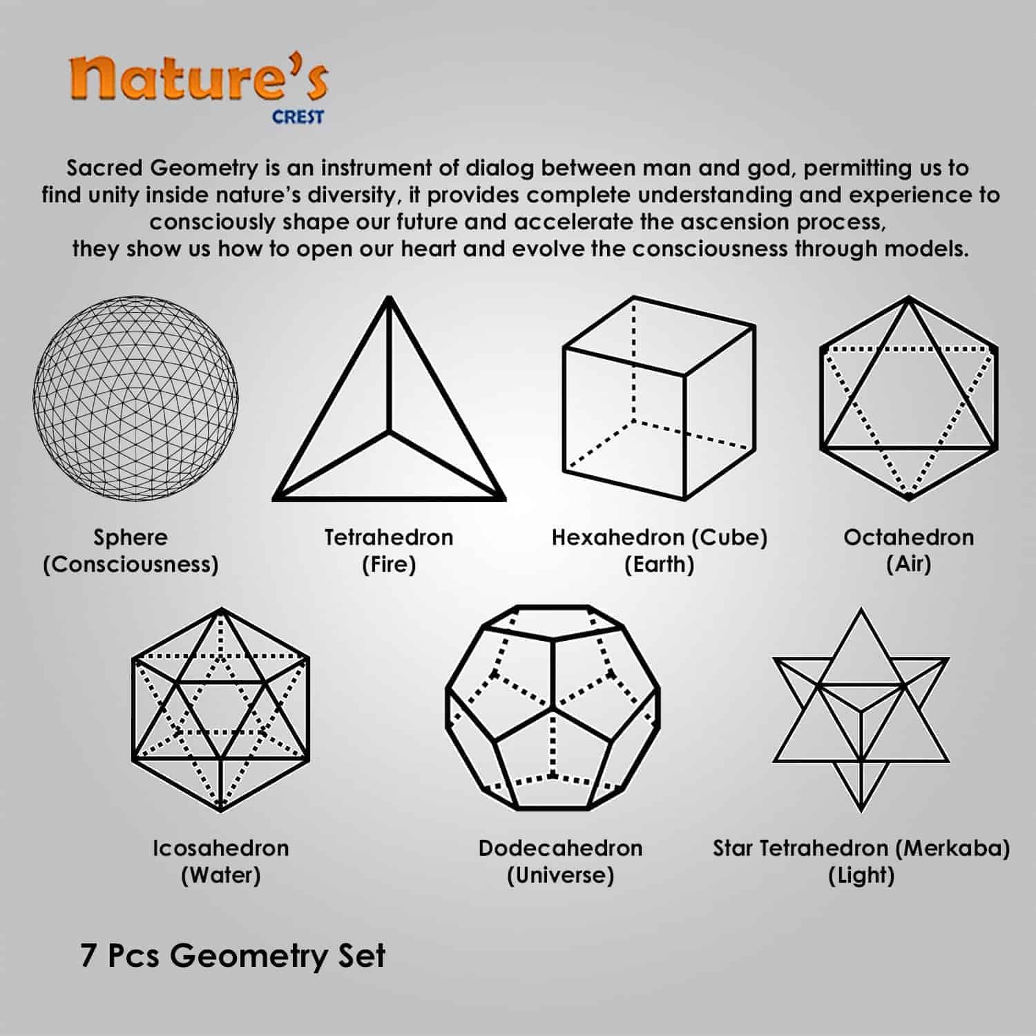Crystal Quartz (Sphatik) Platonic Solids 7 Pcs Set Sacret Geometry Set Nature's Crest GS7001 ₹ 1,399.00