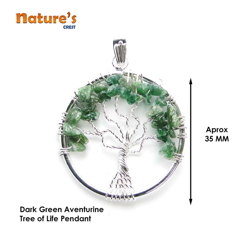 Green Aventurine Dark Tree of Life Pendant Nature's Crest TOL008 ₹249.00