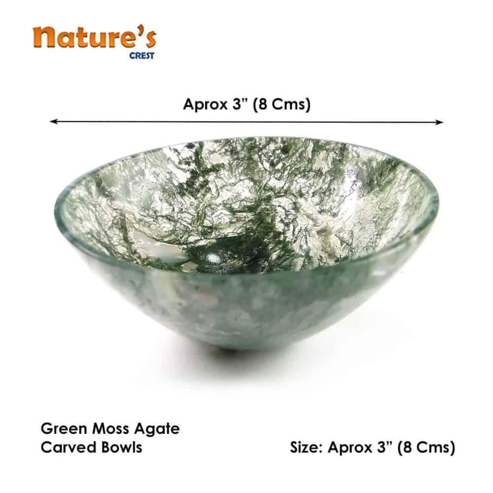 "Green Moss Agate Gemstone Bowl 3"" Nature's Crest BO005 ₹1,499.00"