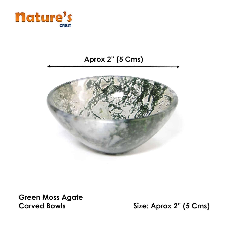 "Green Moss Agate Gemstone Bowl 2"" Nature's Crest BO003 ₹949.00"