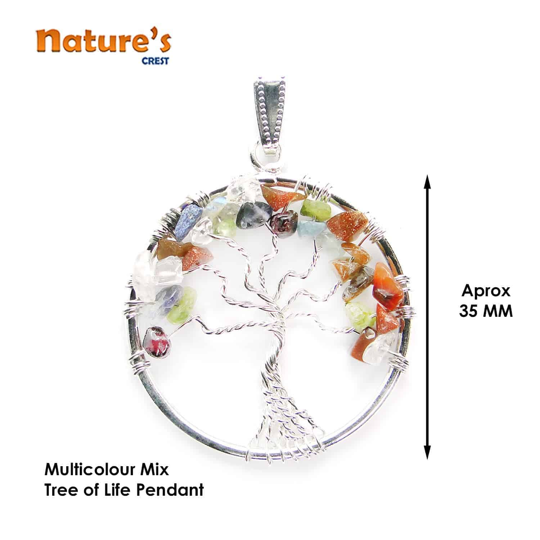 Mix Gemstones Tree of Life Pendant Nature's Crest TOL010 ₹249.00