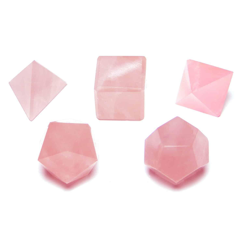 Rose Quartz Platonic Solids 5 Pcs Set Sacret Geometry Set Nature's Crest GS5003 ₹999.00