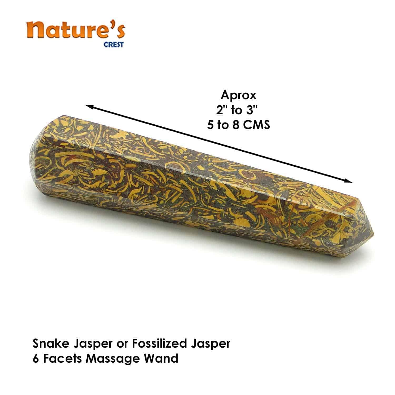 Snake Jasper Healing Wand Massage Stick Nature's Crest MS015 ₹399.00