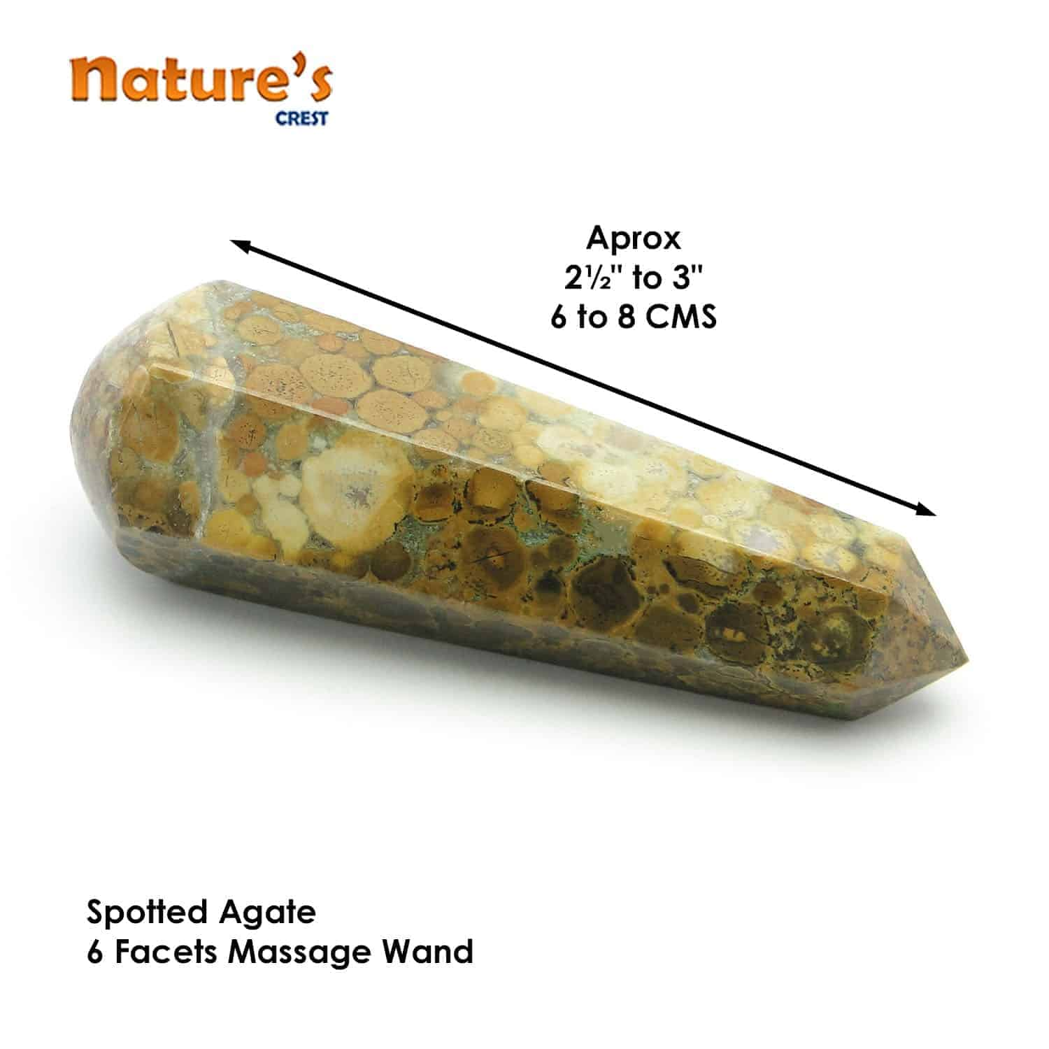 Spotted Agate Healing Wand Massage Stick Nature's Crest MS016 ₹399.00
