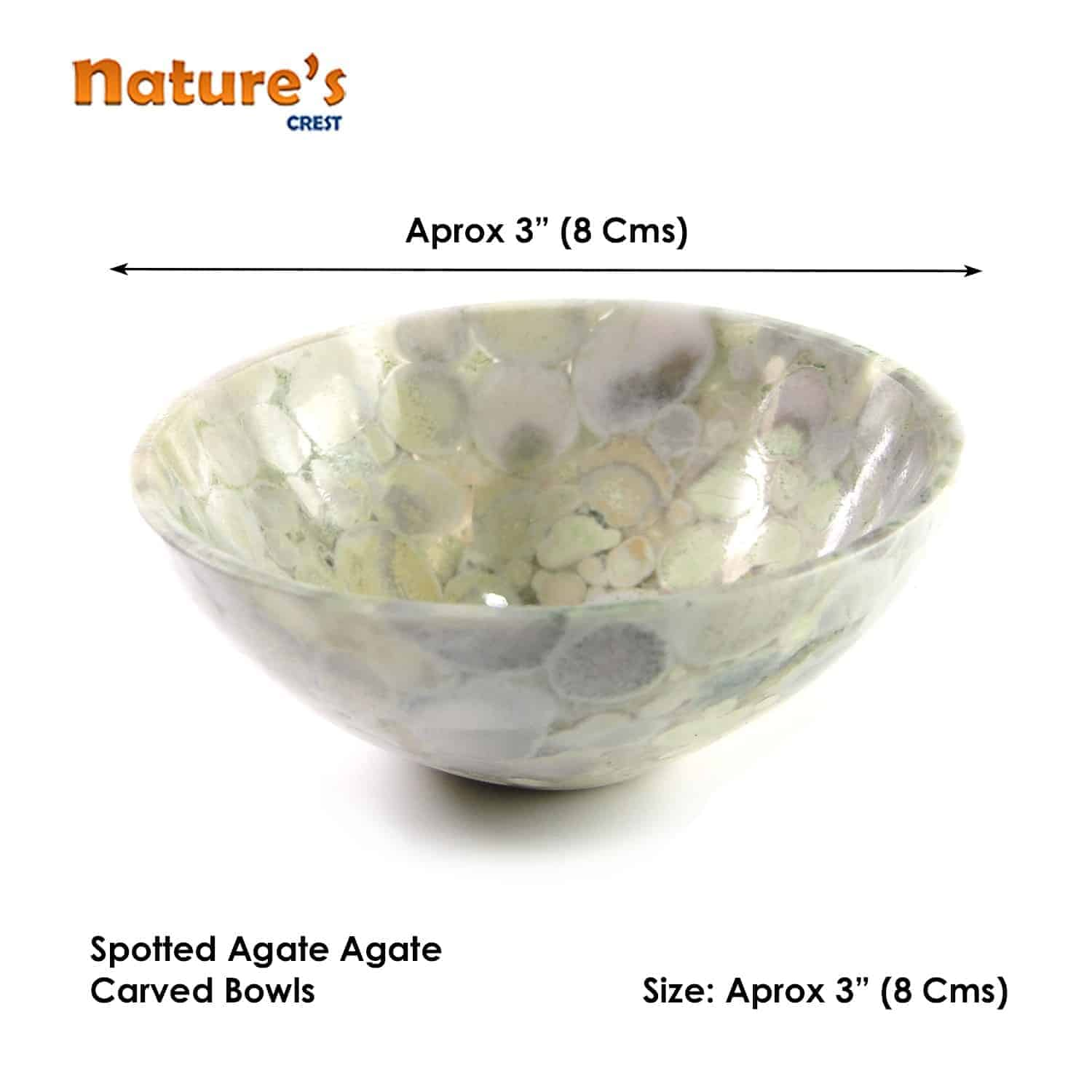 """Spotted Agate Gemstone Bowl 3"""" Nature's Crest BO006 ₹1,499.00"""