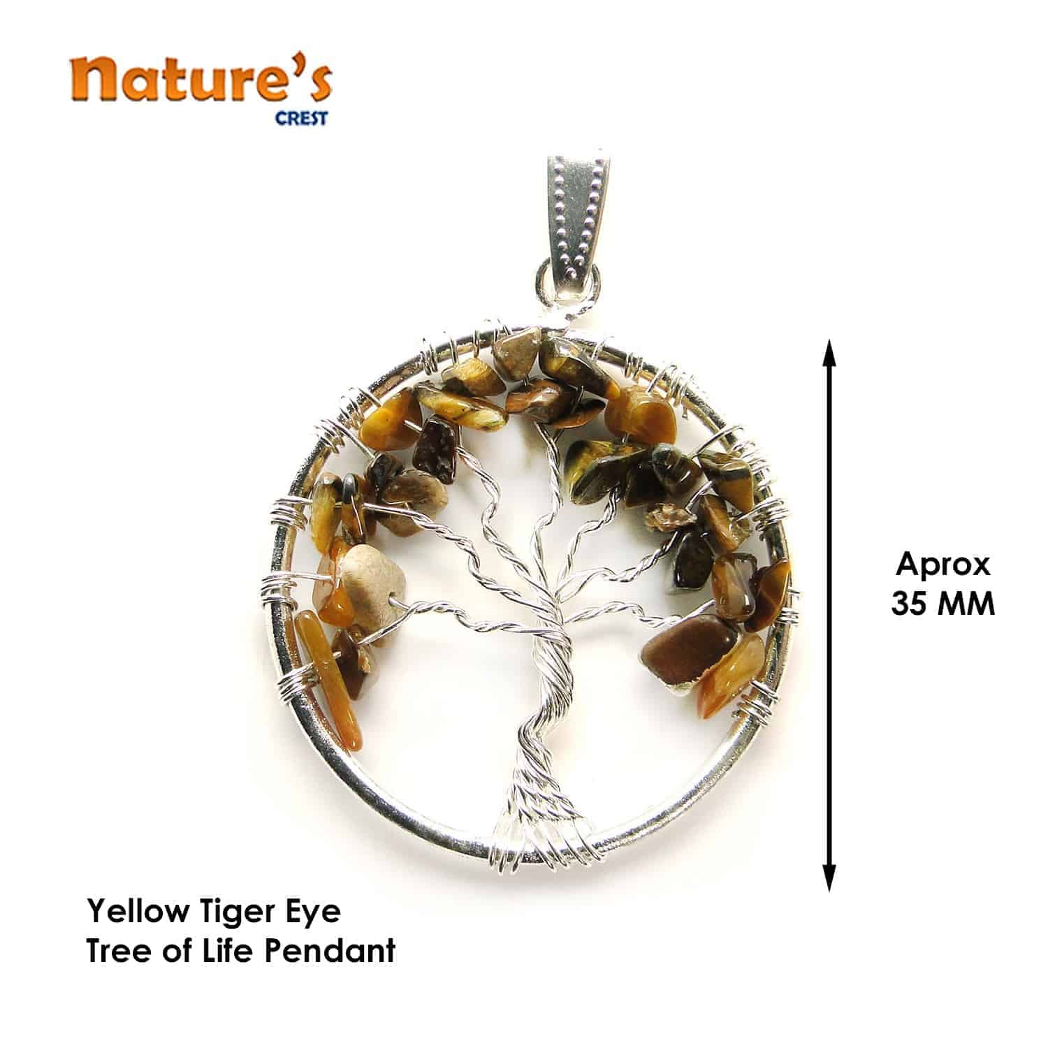 Tiger Eye Yellow Tree of Life Pendant Nature's Crest TOL017 ₹ 249.00