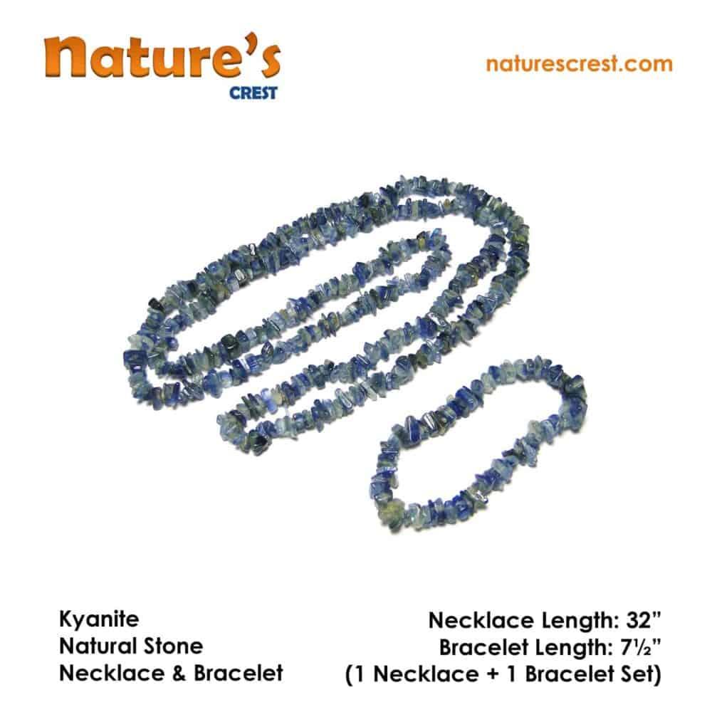 Nature's crest - kyanite chip beads - kyanite natural stone necklace bracelet set vector