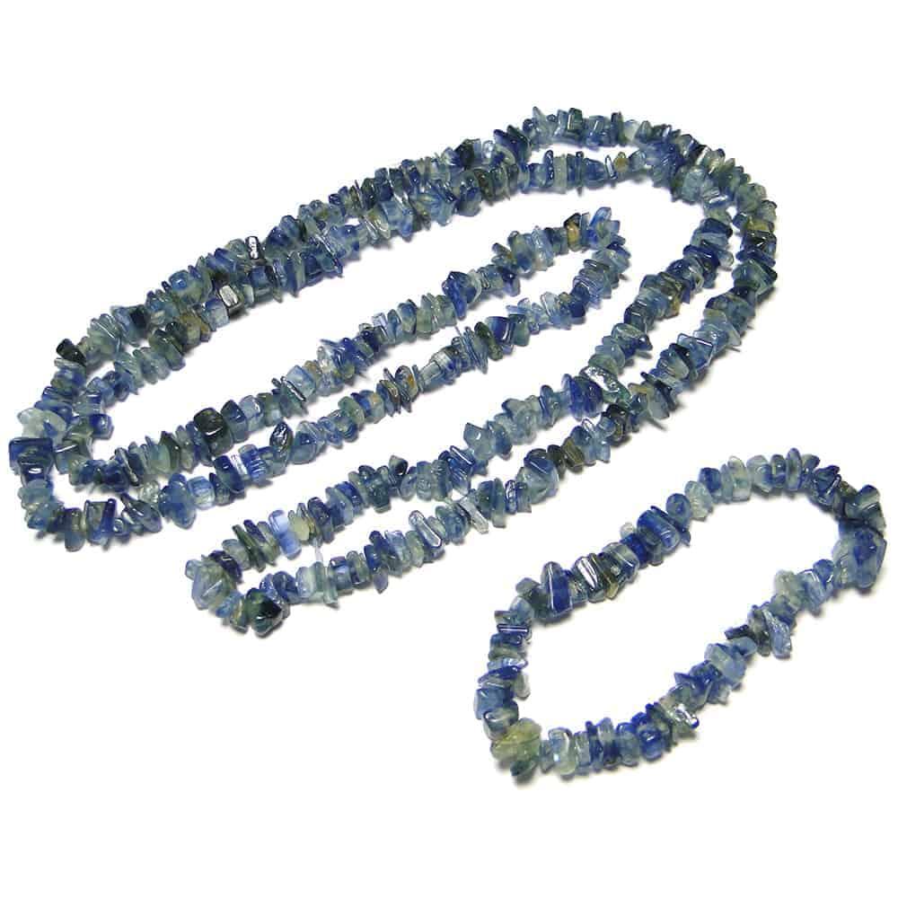 Nature's crest - kyanite chip beads - kyanite natural stone necklace bracelet set